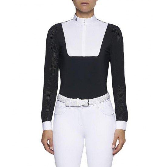 Рубашка женская с перфорированной молнией, темно-синяя, Cavalleria Toscana