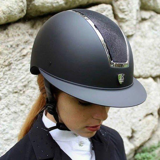 Шлем с широким козырьком для конного спорта с блестящей вставкой, Tattini